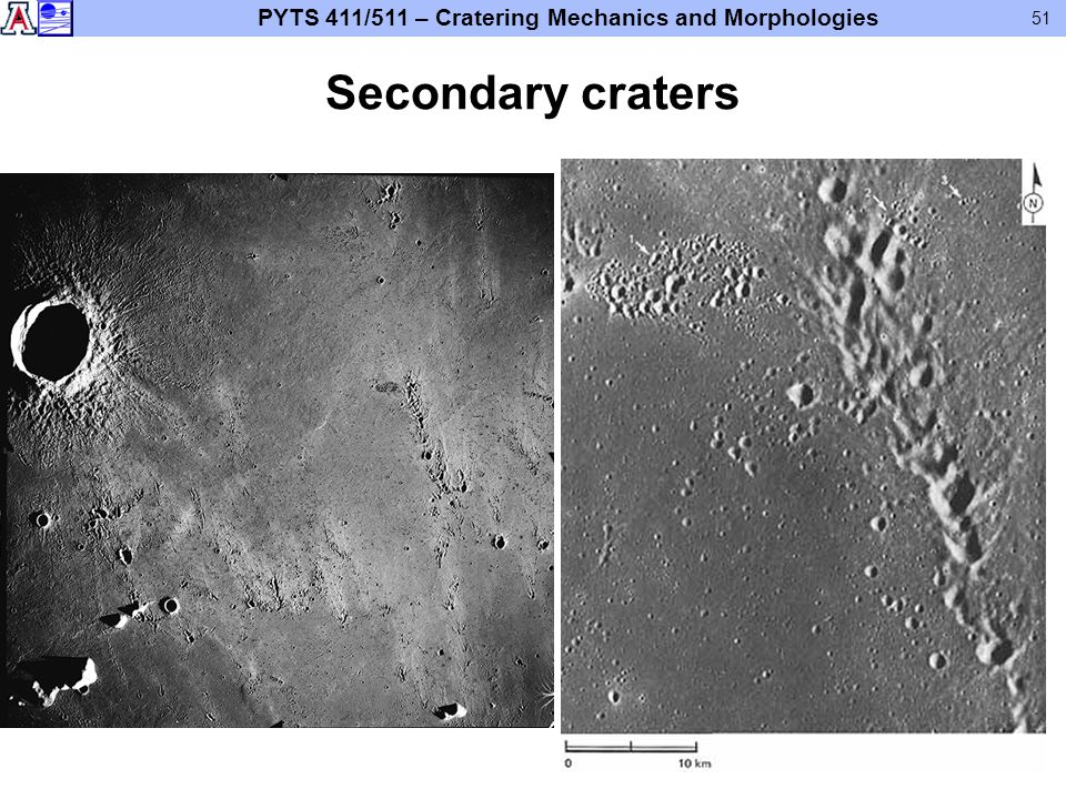 PYTS 411/511 – Cratering Mechanics and Morphologies 51 Secondary craters