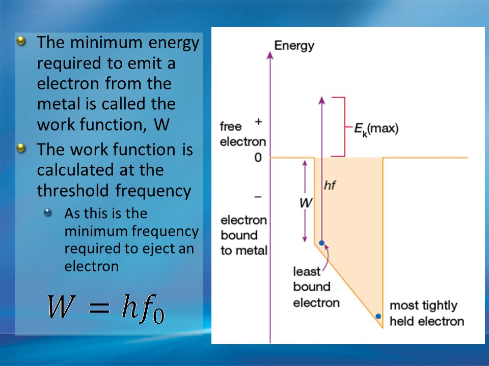The minimum energy required to emit a electron from the metal is called the work function, W The work function is calculated at the threshold frequency As this is the minimum frequency required to eject an electron