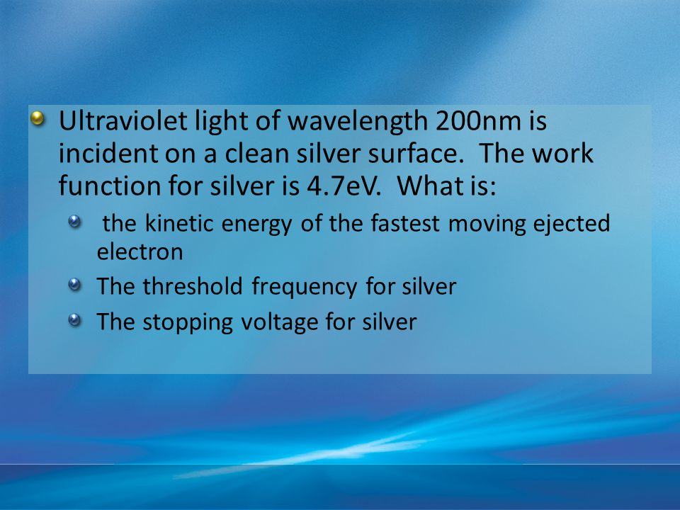 Ultraviolet light of wavelength 200nm is incident on a clean silver surface.