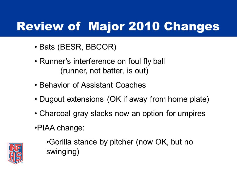 Review of Major 2010 Changes Bats (BESR, BBCOR) Runner's interference on foul fly ball (runner, not batter, is out) Behavior of Assistant Coaches Dugout extensions (OK if away from home plate) Charcoal gray slacks now an option for umpires PIAA change: Gorilla stance by pitcher (now OK, but no swinging)