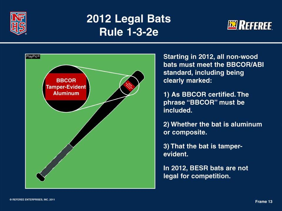 Rule 1-3-2e Baseball Bat Rule  #1 All non-wood bats must meet the Batted Ball Coefficient of Restitution (BBCOR) and Accelerated Break-In (ABI) performance standard.