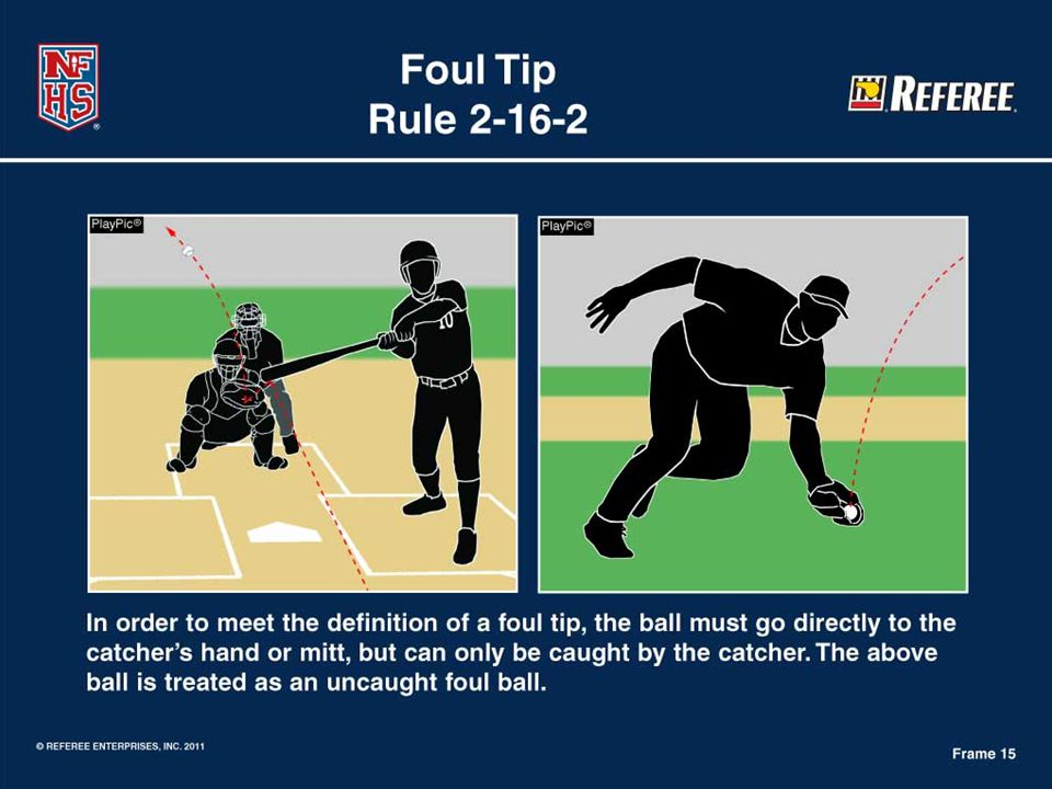 Rule 2-16-2 Definition of a Foul Tip  Foul Tip: Struck ball must go directly to the catcher's hand or mitt.