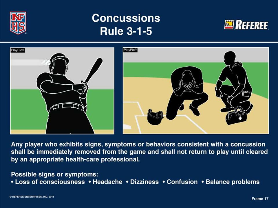 Rule 3-1-5 Concussions  Possible signs and symptoms: Loss of consciousness Headache Dizziness Confusion Balance problems Staggering around  When in doubt, sit him out!