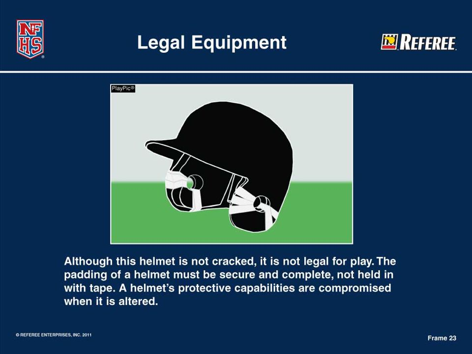 Legal Equipment  Helmet inspection gets easily overlooked, but due to the emphasis on concussion management, cracked helmets provide little to no protective assurances.