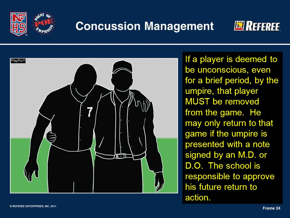 If a player is deemed to be unconscious, even for a brief period, by the umpire, that player MUST be removed from the game.