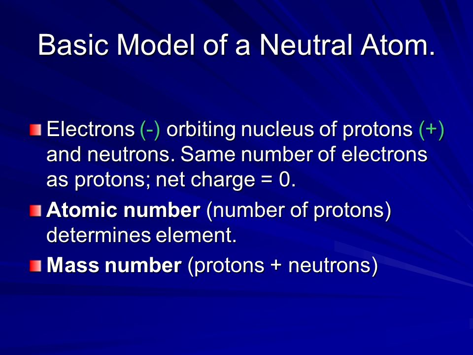 Basic Model of a Neutral Atom. Electrons (-) orbiting nucleus of protons (+) and neutrons.