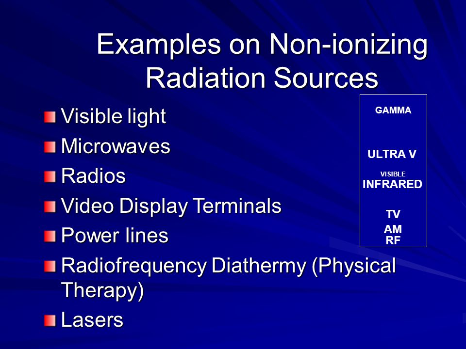Examples on Non-ionizing Radiation Sources Visible light MicrowavesRadios Video Display Terminals Power lines Radiofrequency Diathermy (Physical Therapy) Lasers MICROWAVE GAMMA ULTRA V VISIBLE INFRARED TV AM RF
