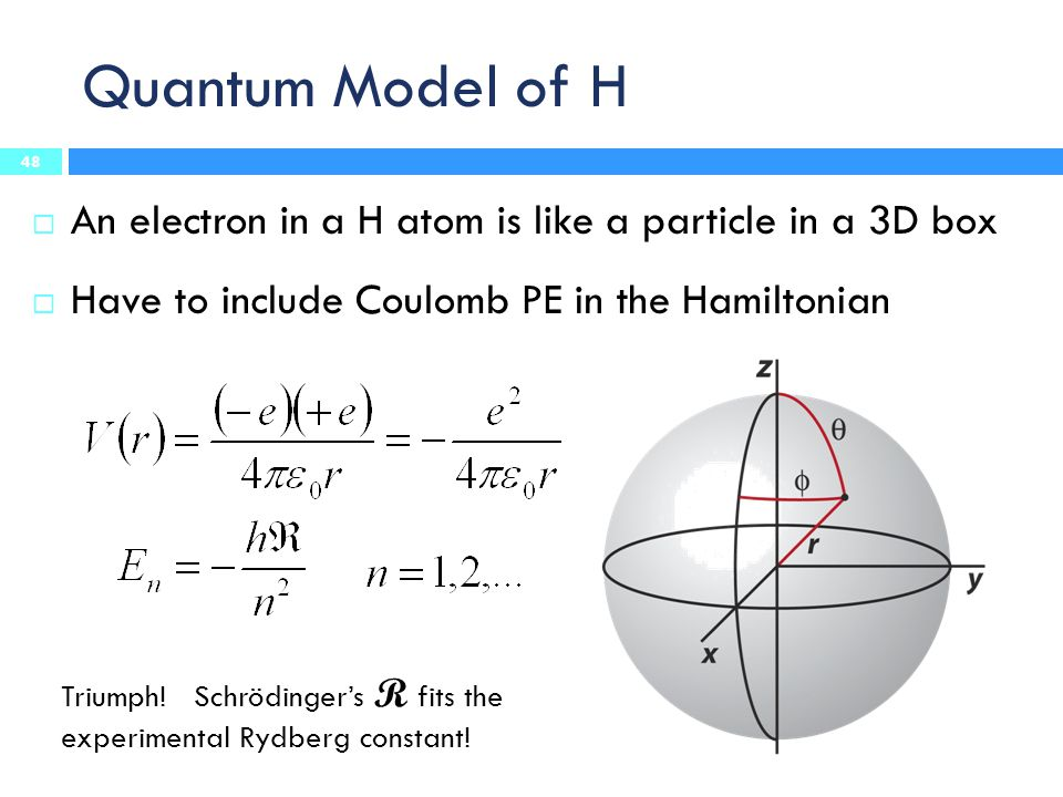 Quantum Model of H  An electron in a H atom is like a particle in a 3D box  Have to include Coulomb PE in the Hamiltonian Triumph! Schrödinger's R f