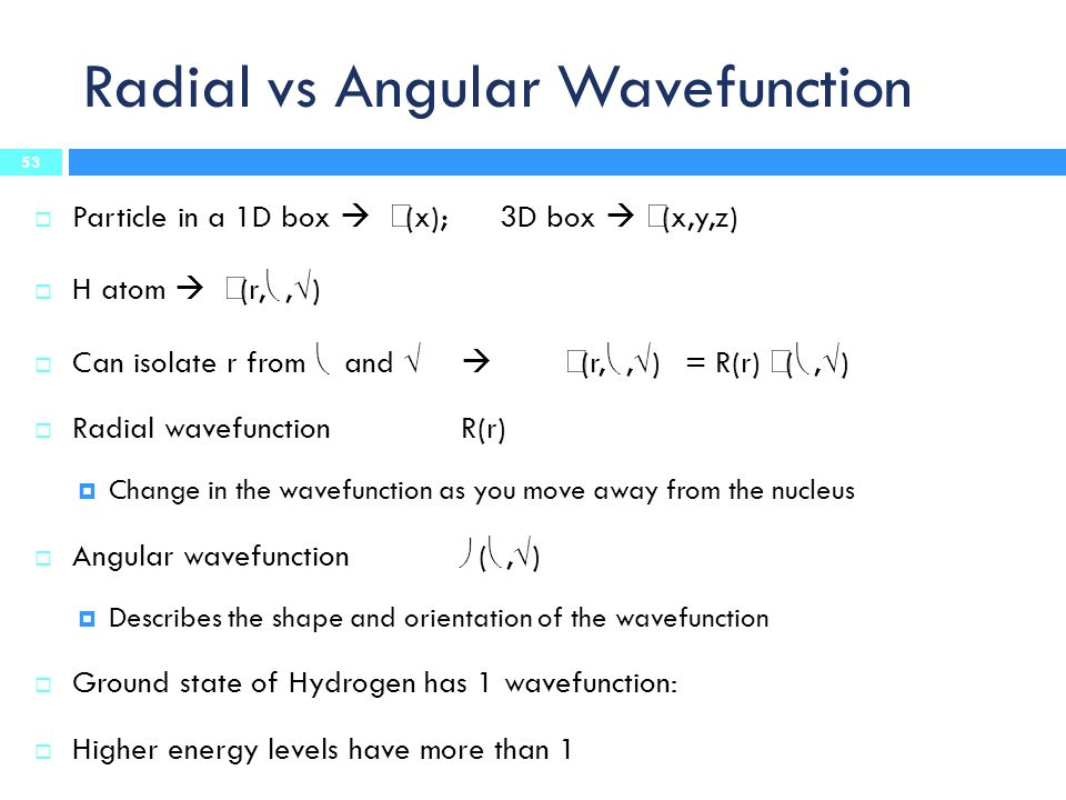 Radial vs Angular Wavefunction  Particle in a 1D box   (x); 3D box   (x,y,z)  H atom   (r, ,  )  Can isolate r from  and    (r, ,  ) = R(r)  ( ,  )  Radial wavefunction R(r)  Change in the wavefunction as you move away from the nucleus  Angular wavefunction  ( ,  )  Describes the shape and orientation of the wavefunction  Ground state of Hydrogen has 1 wavefunction:  Higher energy levels have more than 1 53