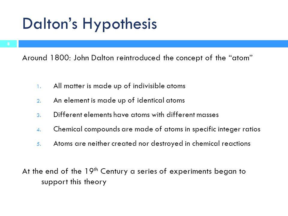 Dalton's Hypothesis Around 1800: John Dalton reintroduced the concept of the atom 1.