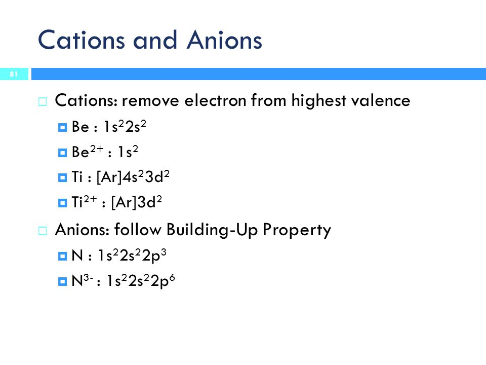 Cations and Anions 81  Cations: remove electron from highest valence  Be : 1s 2 2s 2  Be 2+ : 1s 2  Ti : [Ar]4s 2 3d 2  Ti 2+ : [Ar]3d 2  Anions: follow Building-Up Property  N : 1s 2 2s 2 2p 3  N 3- : 1s 2 2s 2 2p 6