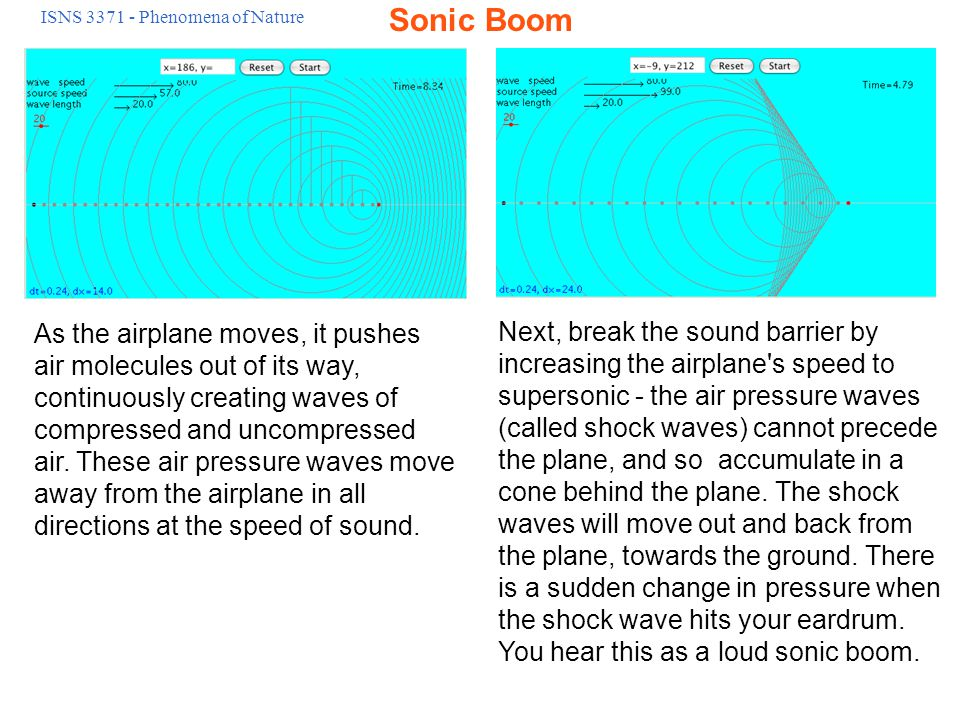 ISNS 3371 - Phenomena of Nature There are actually two shocks - the first shock forms at the nose of the aircraft and the second near the tail - so you actually hear two sonic booms.