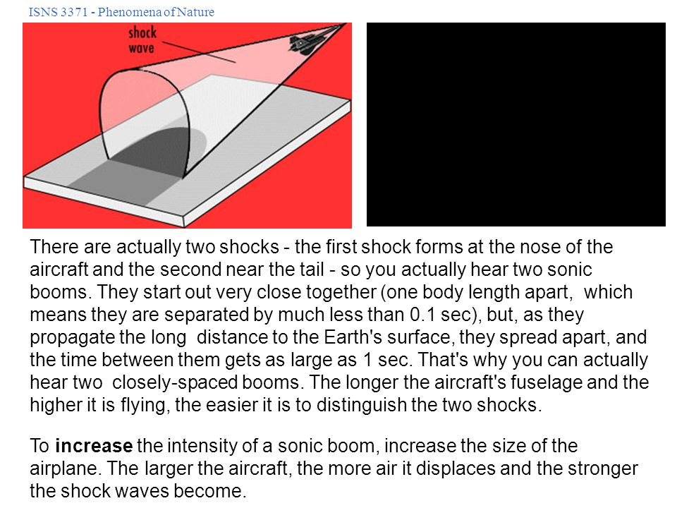 ISNS 3371 - Phenomena of Nature There are actually two shocks - the first shock forms at the nose of the aircraft and the second near the tail - so yo