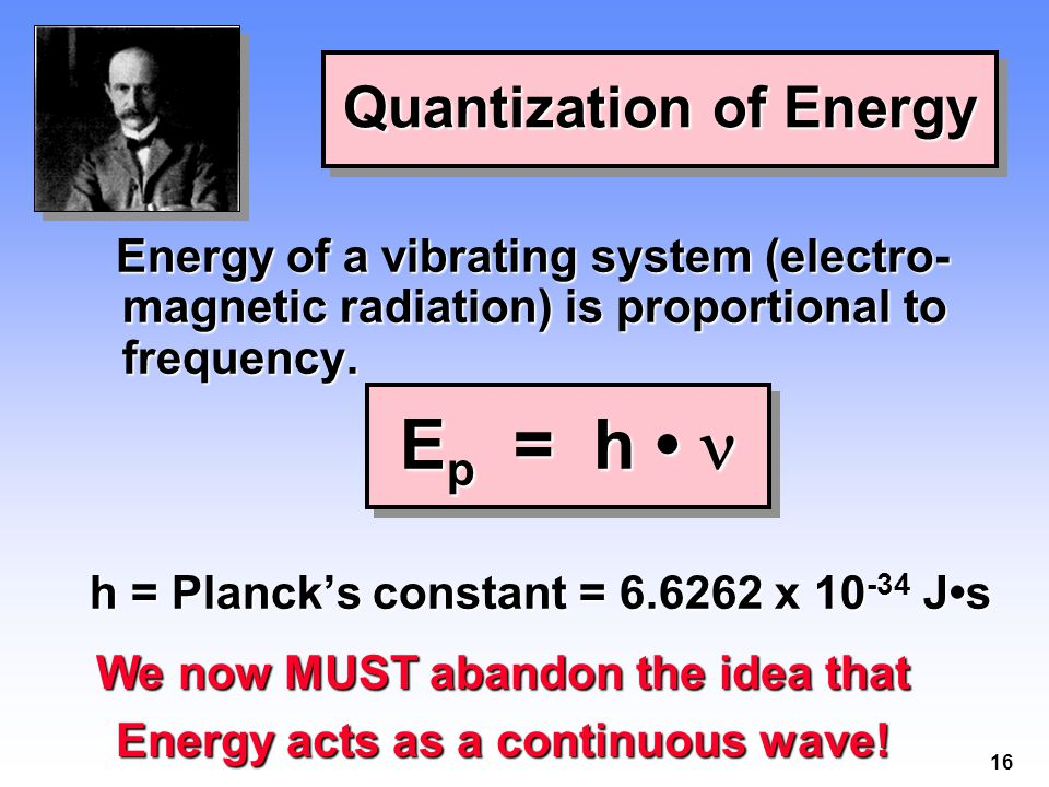 16 Energy of a vibrating system (electro- magnetic radiation) is proportional to frequency.