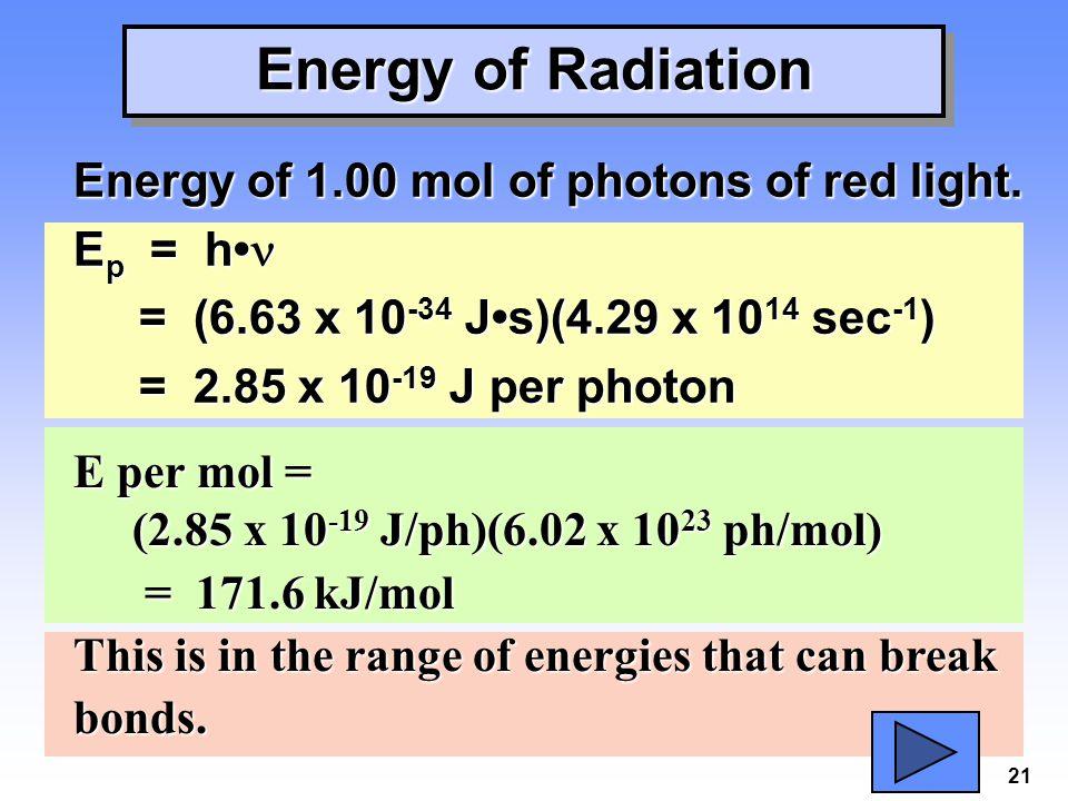 21 Energy of Radiation Energy of 1.00 mol of photons of red light. E p = h E p = h = (6.63 x 10 -34 Js)(4.29 x 10 14 sec -1 ) = (6.63 x 10 -34 Js)(4.2