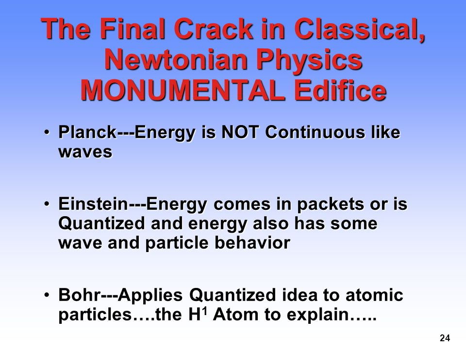 24 The Final Crack in Classical, Newtonian Physics MONUMENTAL Edifice Planck---Energy is NOT Continuous like wavesPlanck---Energy is NOT Continuous li