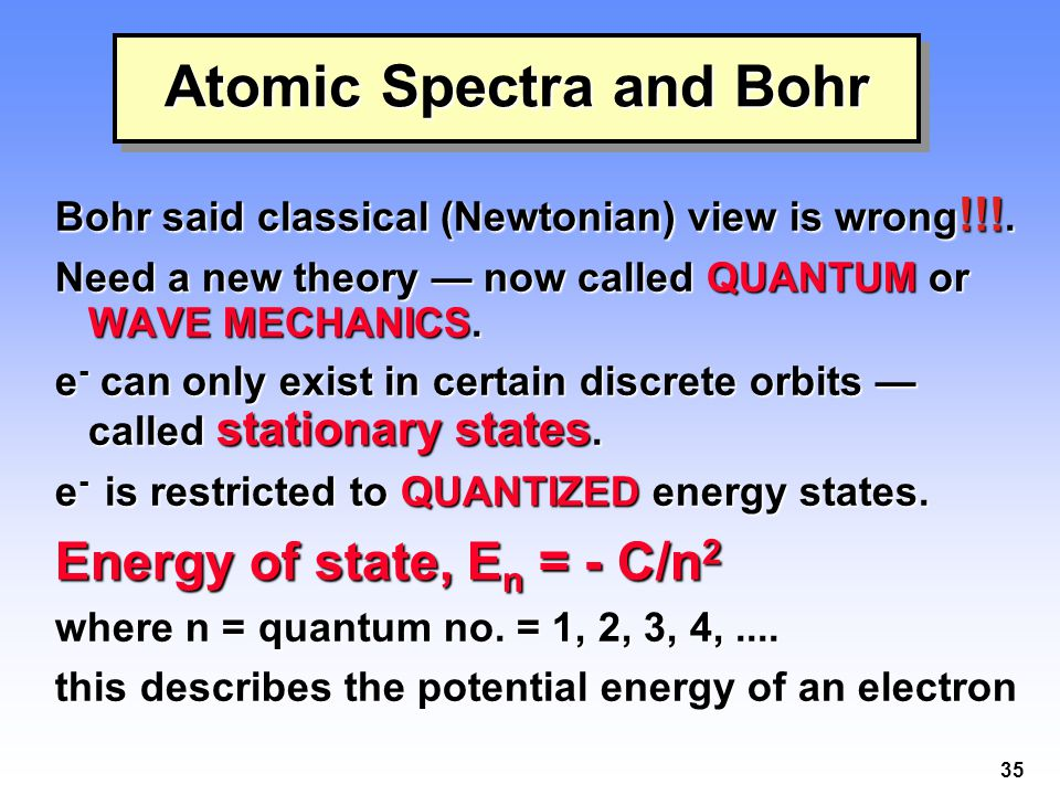 35 Atomic Spectra and Bohr Bohr said classical (Newtonian) view is wrong !!!. Need a new theory — now called QUANTUM or WAVE MECHANICS. e - can only e