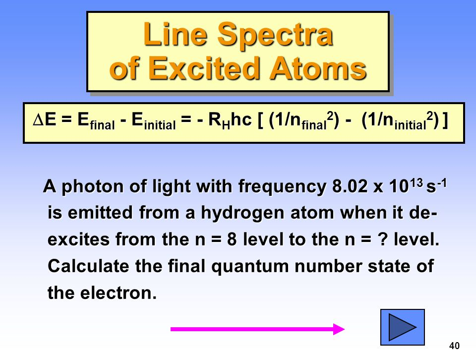 40  E = E final - E initial = - R H hc [ (1/n final 2 ) - (1/n initial 2 ) ] A photon of light with frequency 8.02 x 10 13 s -1 is emitted from a hyd