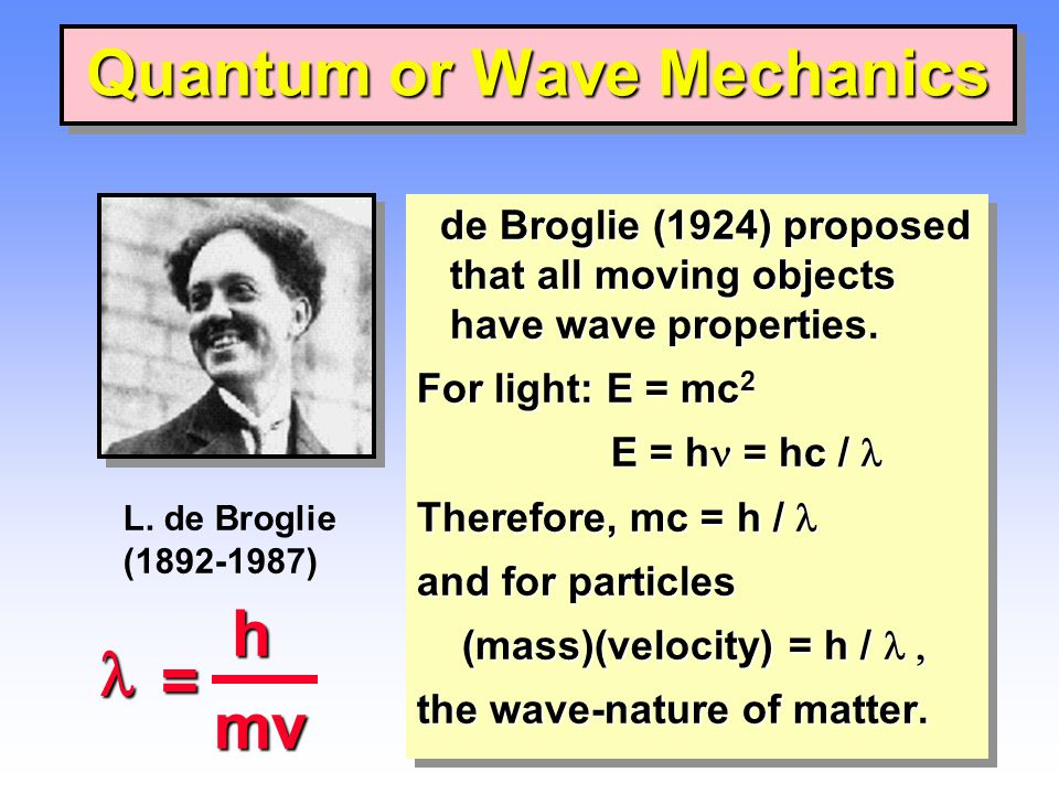 Quantum or Wave Mechanics de Broglie (1924) proposed that all moving objects have wave properties.