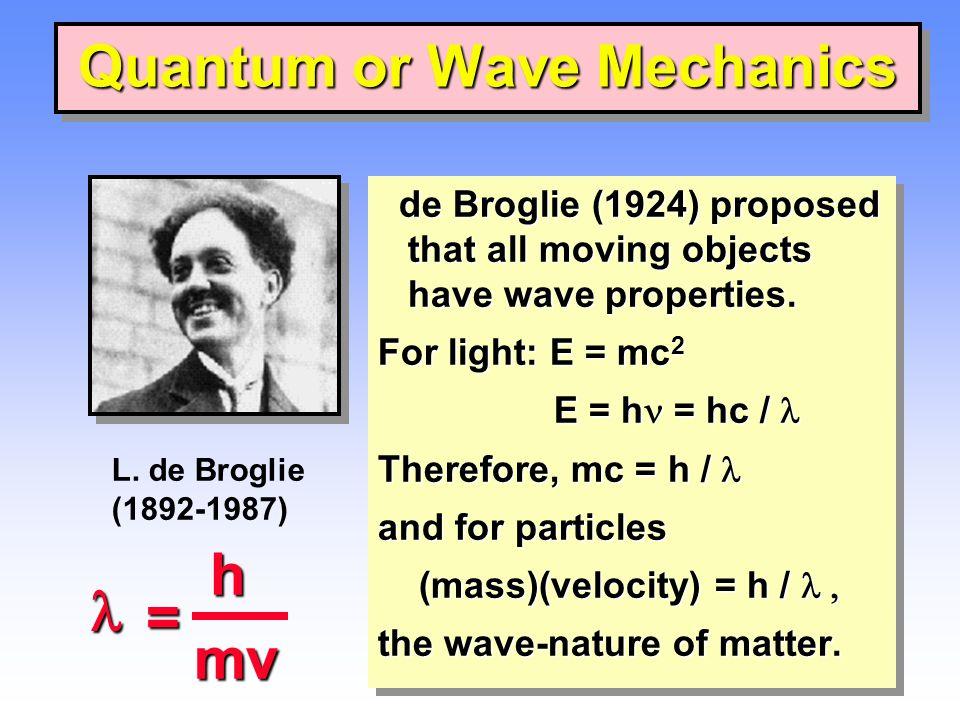 Quantum or Wave Mechanics de Broglie (1924) proposed that all moving objects have wave properties. de Broglie (1924) proposed that all moving objects