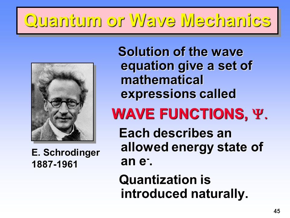 45 Solution of the wave equation give a set of mathematical expressions called Solution of the wave equation give a set of mathematical expressions called WAVE FUNCTIONS,  Each describes an allowed energy state of an e -.