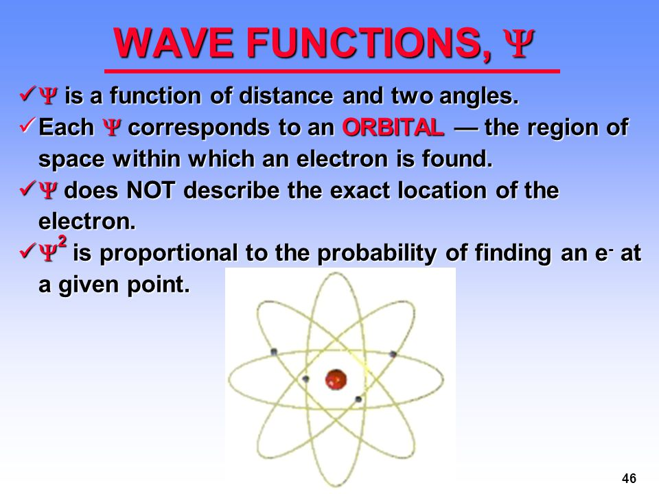 46 WAVE FUNCTIONS,   is a function of distance and two angles.  is a function of distance and two angles. Each  corresponds to an ORBITAL — the