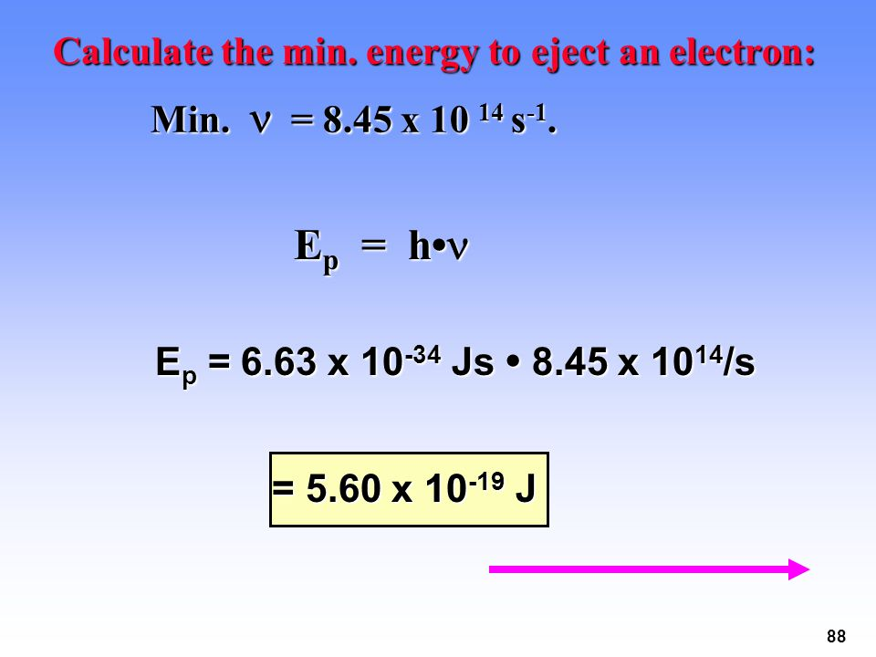 88 Calculate the min. energy to eject an electron: Min. = 8.45 x 10 14 s -1. Min. = 8.45 x 10 14 s -1. E p = h E p = h E p = 6.63 x 10 -34 Js 8.45 x 1