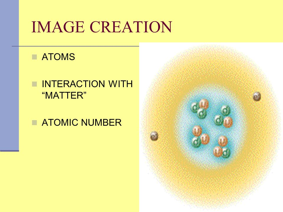 """IMAGE CREATION ATOMS INTERACTION WITH """"MATTER"""" ATOMIC NUMBER"""