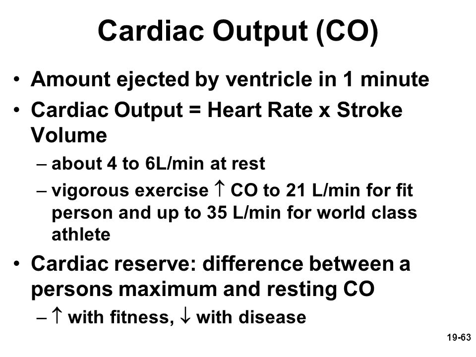 19-63 Cardiac Output (CO) Amount ejected by ventricle in 1 minute Cardiac Output = Heart Rate x Stroke Volume –about 4 to 6L/min at rest –vigorous exe