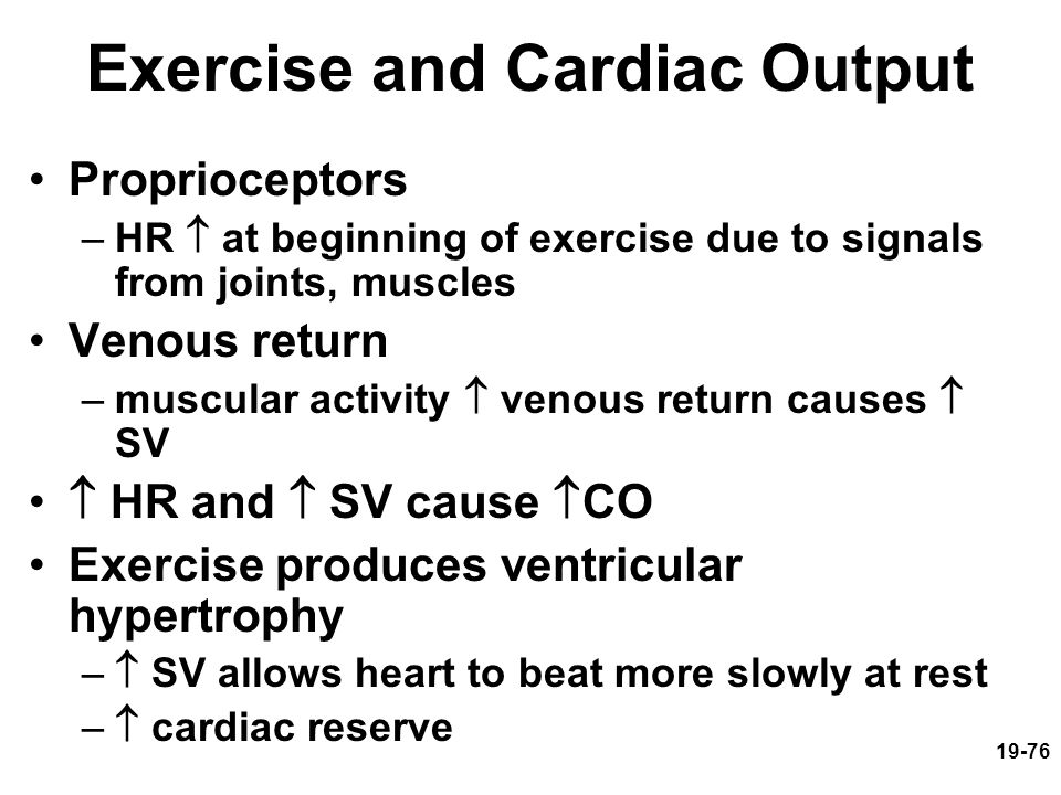 19-76 Exercise and Cardiac Output Proprioceptors –HR  at beginning of exercise due to signals from joints, muscles Venous return –muscular activity 