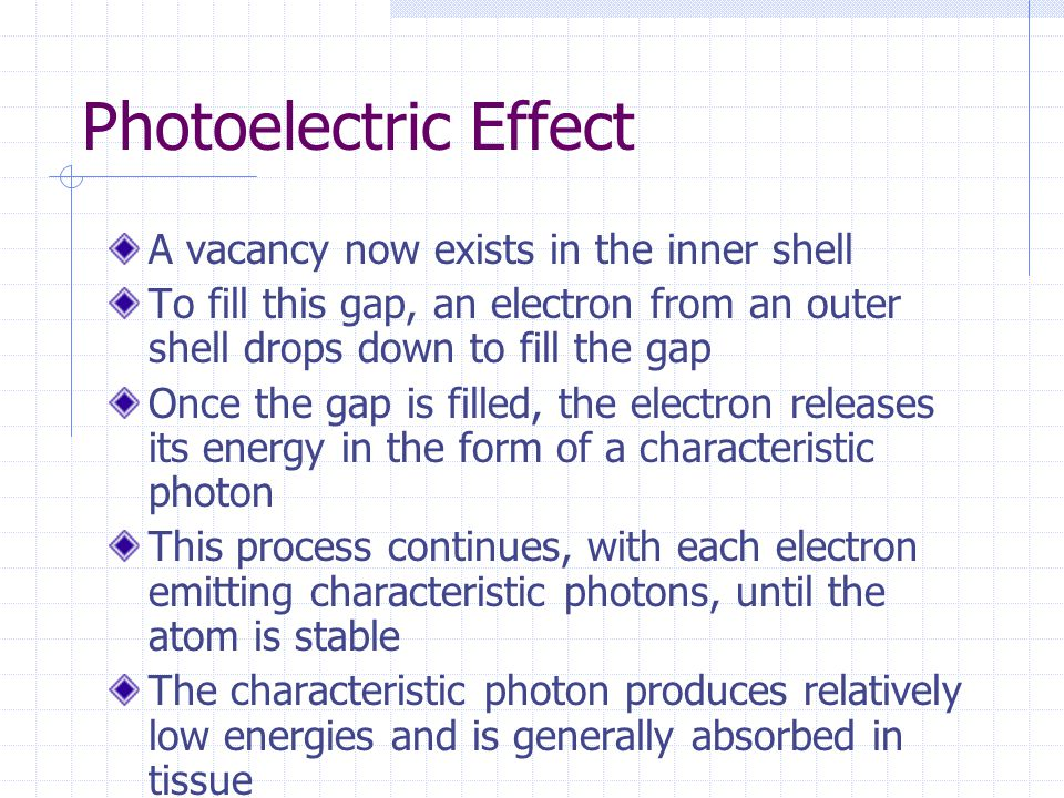 A vacancy now exists in the inner shell To fill this gap, an electron from an outer shell drops down to fill the gap Once the gap is filled, the elect