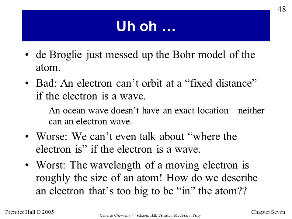 Chapter Seven 48 Hall © 2005 Prentice Hall © 2005 General Chemistry 4 th edition, Hill, Petrucci, McCreary, Perry de Broglie just messed up the Bohr m