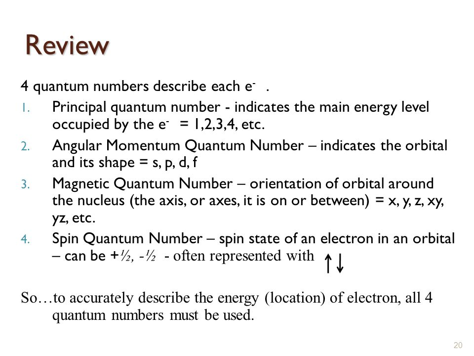 Review 4 quantum numbers describe each e -. 1. Principal quantum number - indicates the main energy level occupied by the e - = 1,2,3,4, etc. 2. Angul