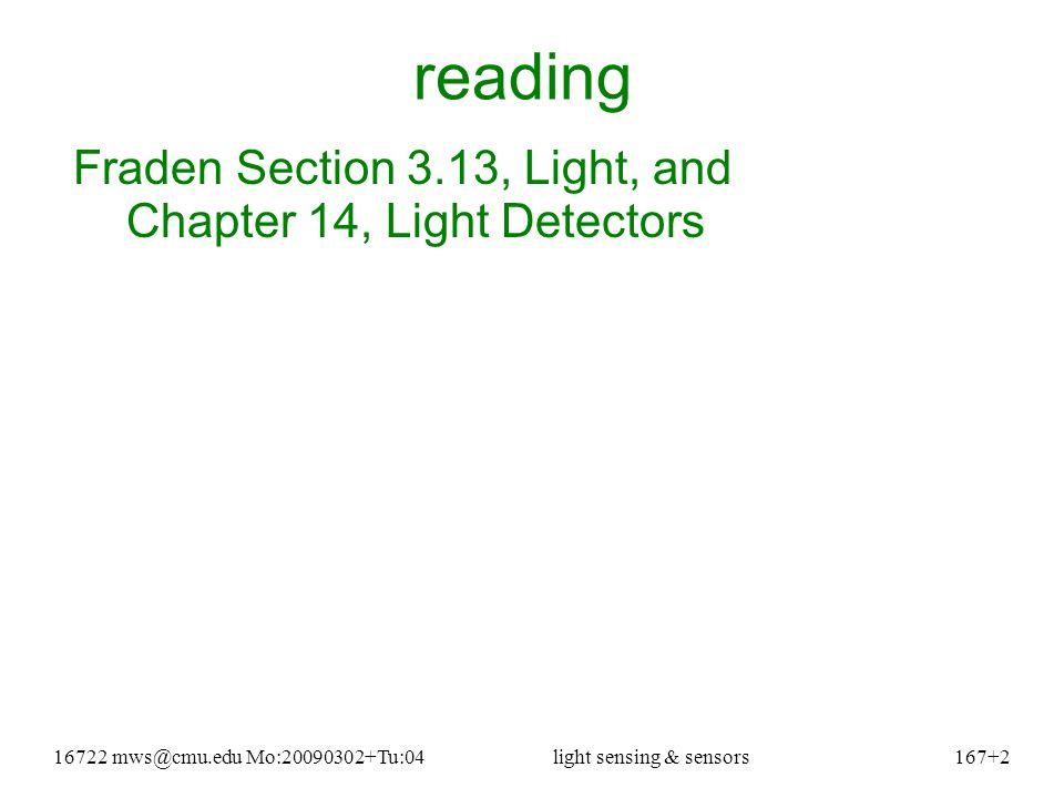 16722 mws@cmu.edu Mo:20090302+Tu:04light sensing & sensors167+23 silicon sensor (& IR cut-off filters) see readings directory: removing_IR_blocking_filter.htm human (lower) & silicon (upper) wavelength sensitivity