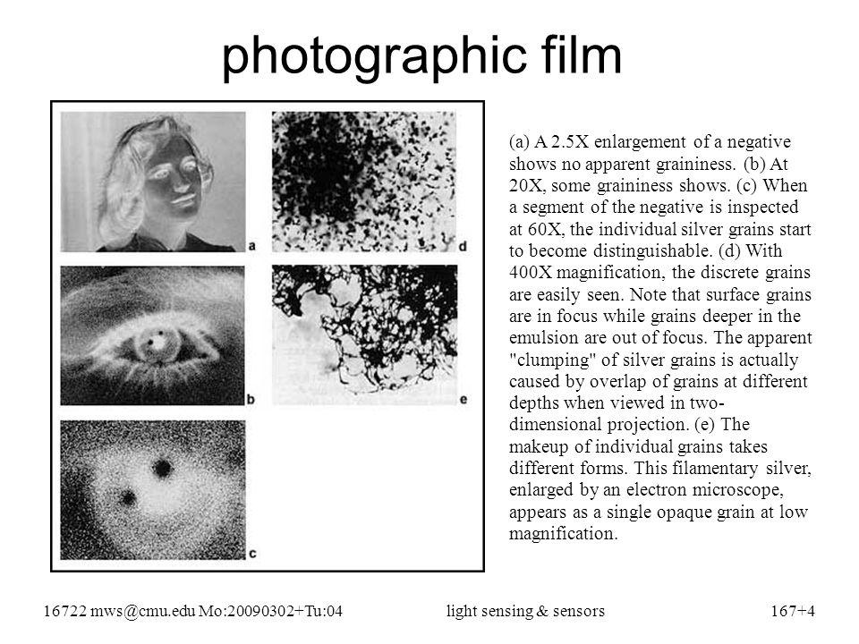16722 mws@cmu.edu Mo:20090302+Tu:04light sensing & sensors167+25 Kodak KAF-400 CCD specs must mean for 1/20 second exposure time