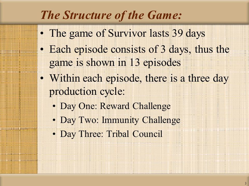 4 Surviving Phase One and Phase Two: ONE WINNER Day 39 TEN PLAYERS MERGE: INDIVIDUAL PLAY Days 18 - 39 SIXTEEN PLAYERS START: TEAM PLAY Days 1 - 18 PHASE ONE  (First Six Episodes) PHASE TWO  (Remaining Ten Episodes) VS.