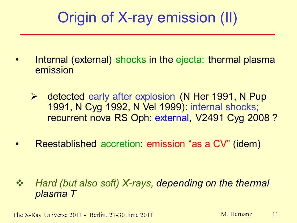 The X-Ray Universe 2011 - Berlin, 27-30 June 2011 M. Hernanz 11 Origin of X-ray emission (II) Internal (external) shocks in the ejecta: thermal plasma