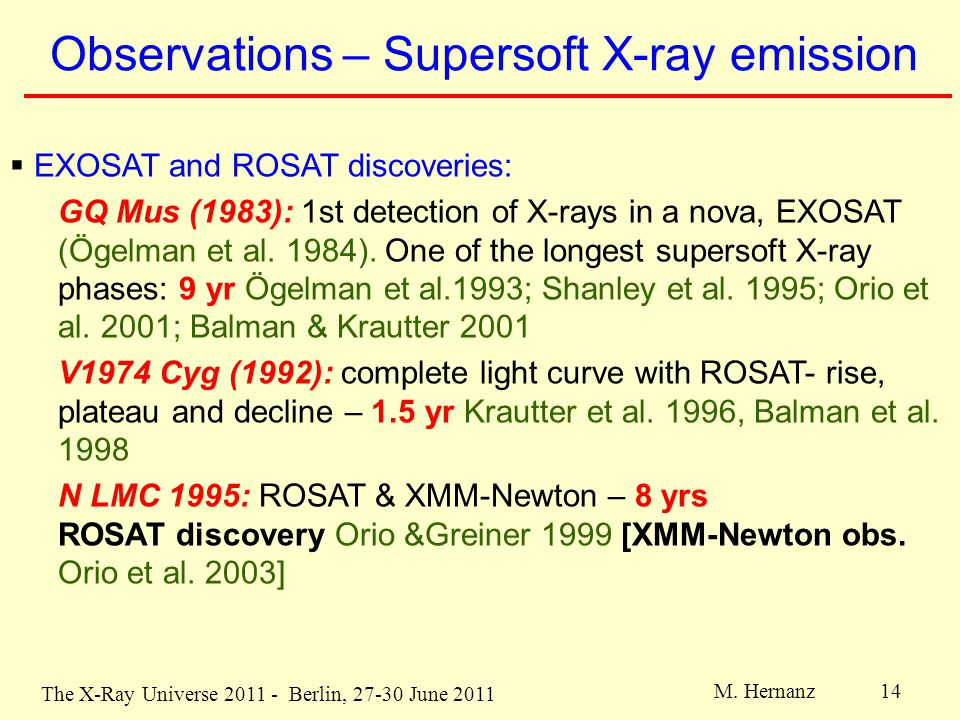 The X-Ray Universe 2011 - Berlin, 27-30 June 2011 M. Hernanz 14 Observations – Supersoft X-ray emission  EXOSAT and ROSAT discoveries: GQ Mus (1983):
