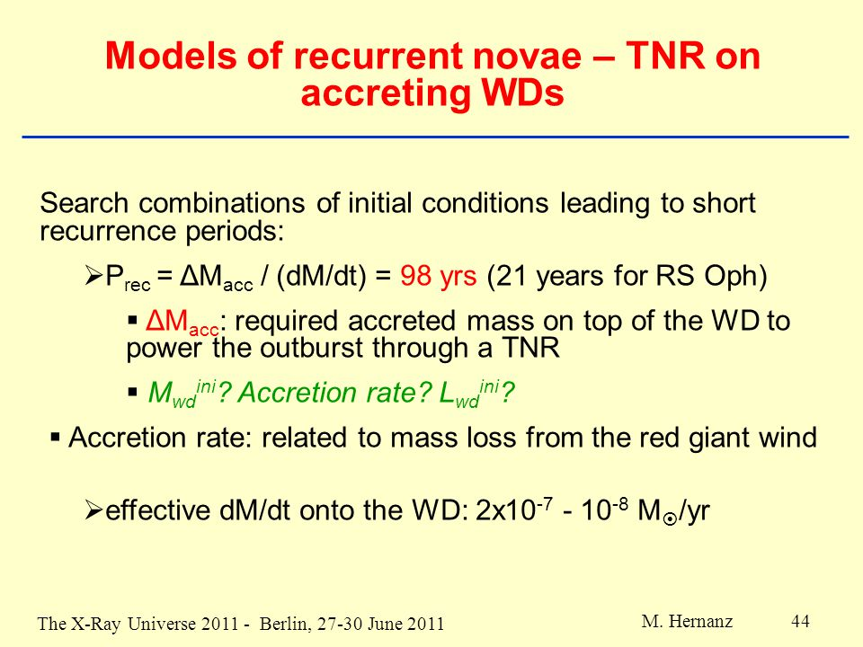 The X-Ray Universe 2011 - Berlin, 27-30 June 2011 M. Hernanz 44 Models of recurrent novae – TNR on accreting WDs Search combinations of initial condit