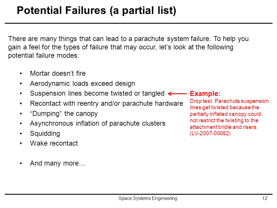 Potential Failures (a partial list) Mortar doesn't fire Aerodynamic loads exceed design Suspension lines become twisted or tangled Recontact with reen