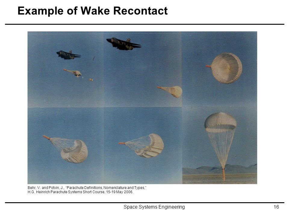 "Example of Wake Recontact Space Systems Engineering16 Behr, V. and Potvin, J., ""Parachute Definitions, Nomenclature and Types,"" H.G. Heinrich Parachut"