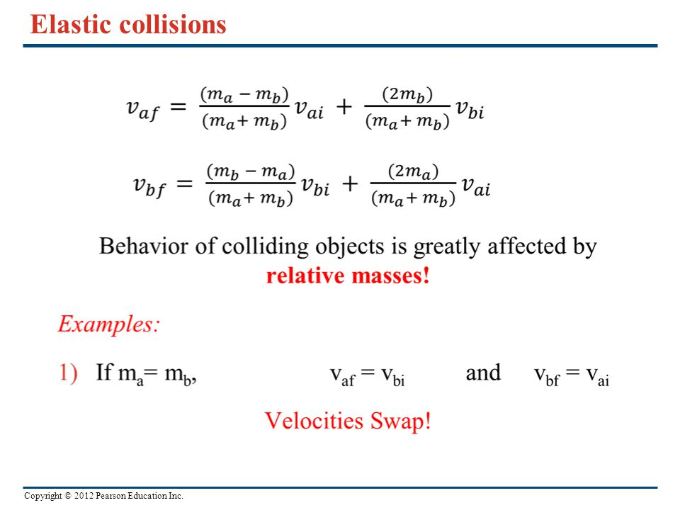 Copyright © 2012 Pearson Education Inc. Elastic collisions