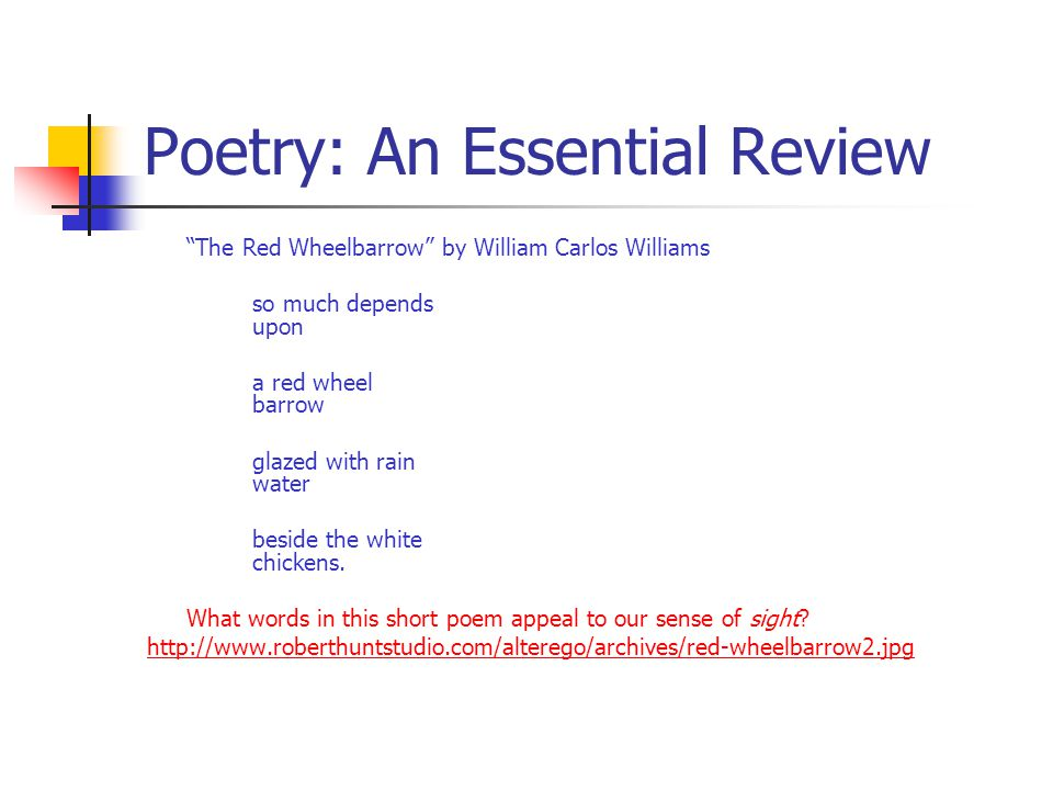 "Poetry: An Essential Review ""The Red Wheelbarrow"" by William Carlos Williams so much depends upon a red wheel barrow glazed with rain water beside the"