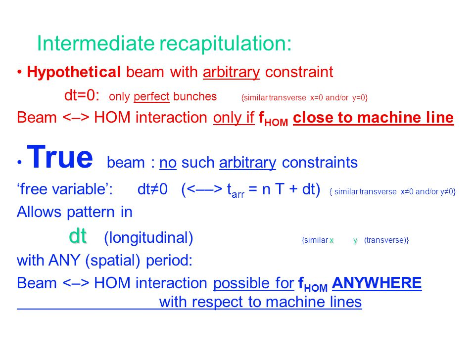 Intermediate recapitulation: Hypothetical beam with arbitrary constraint dt=0: only perfect bunches {similar transverse x=0 and/or y=0} Beam HOM interaction only if f HOM close to machine line True beam : no such arbitrary constraints 'free variable': dt≠0 ( t arr = n T + dt) { similar transverse x≠0 and/or y≠0} Allows pattern in dt xy dt (longitudinal) {similar x y (transverse)} with ANY (spatial) period: Beam HOM interaction possible for f HOM ANYWHERE with respect to machine lines