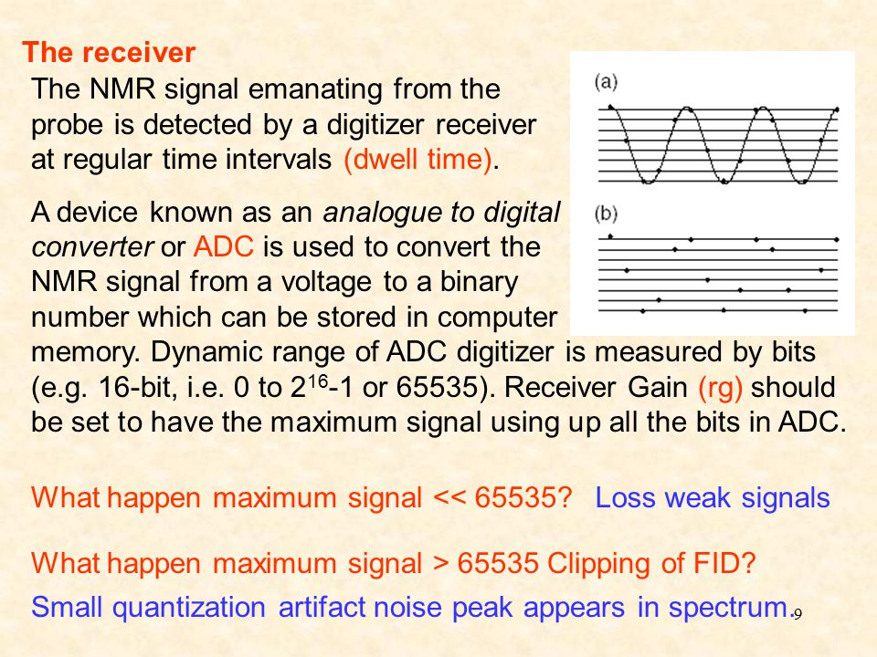 9 The receiver The NMR signal emanating from the probe is detected by a digitizer receiver at regular time intervals (dwell time).