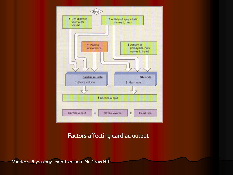 Factors affecting cardiac output Vander's Physiology eighth edition Mc Graw Hill