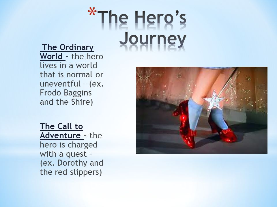 The Ordinary World – the hero lives in a world that is normal or uneventful – (ex.
