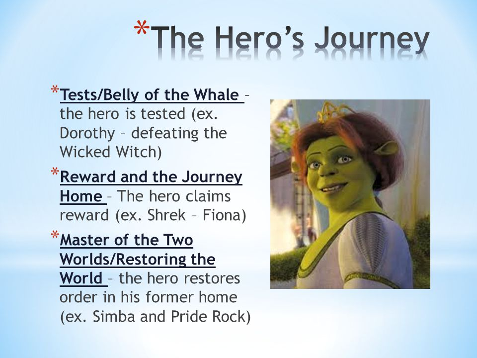 * Tests/Belly of the Whale – the hero is tested (ex.