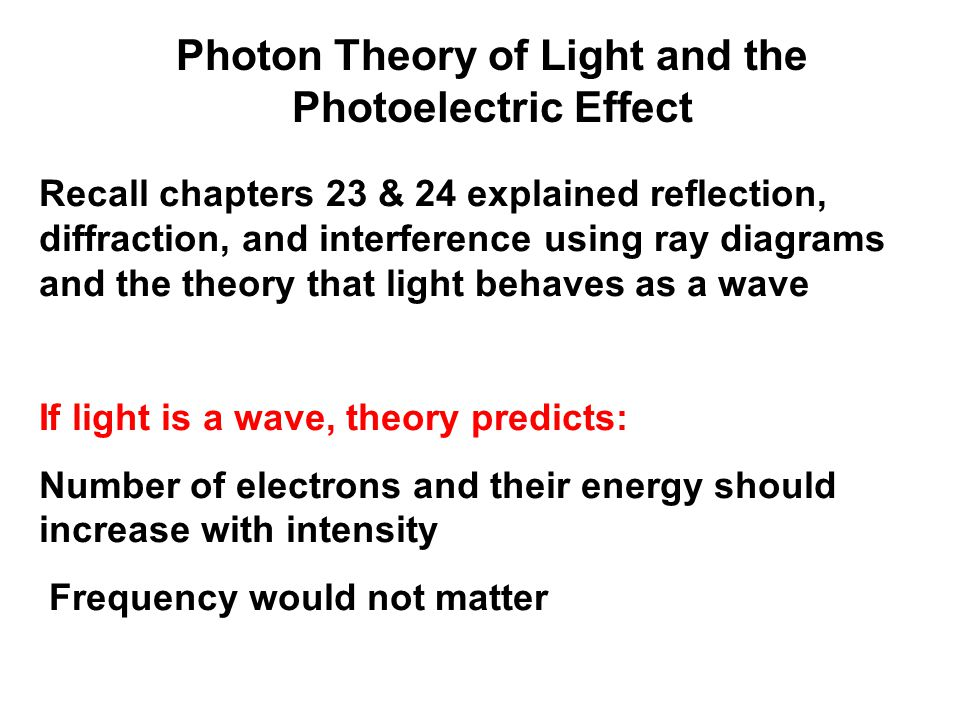 If light is particles, theory predicts: Increasing intensity increases number of electrons but not energy Above a minimum energy required to break atomic bond, kinetic energy will increase linearly with frequency There is a cutoff frequency below which no electrons will be emitted, regardless of intensity Photon Theory of Light and the Photoelectric Effect