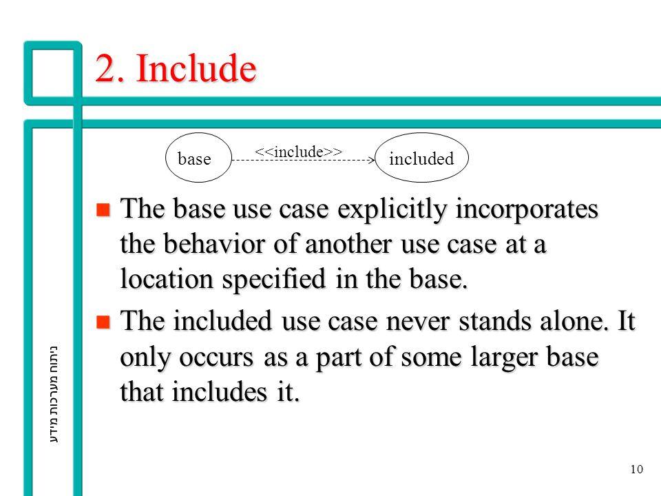 ניתוח מערכות מידע 10 2. Include n The base use case explicitly incorporates the behavior of another use case at a location specified in the base. n Th